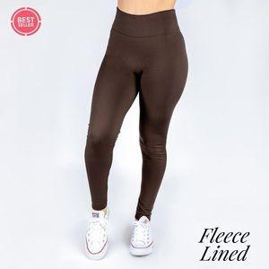 Brown Womens OS Fleece Lined Legging